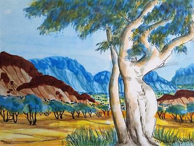 """authentic Aboriginal Art"" Therese Ryder ""my Country"" Original Watercolour"