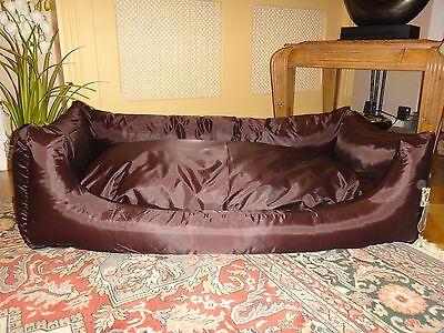 Deluxe Large Waterproof  Luxury Soft Pet Dog Bed Sofa Filled Cushion Brown Black