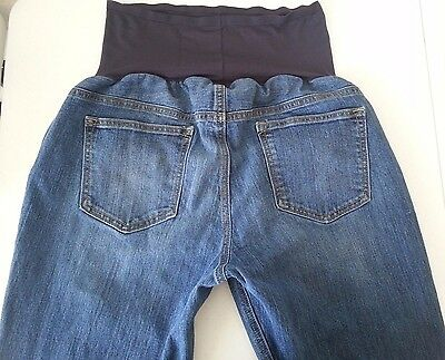 Old Navy Womens Maternity Medium Wash Flare Full Panel Size 12 Long Jeans Denim