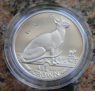1992 Isle of Man Siamese Cat Coin 1 oz Silver Proof
