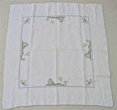 "1940s--VINTAGE CROSS STITCH LINEN TABLE CLOTH (33X33"") + 6 MATCHING NAPKINS-XLNT"