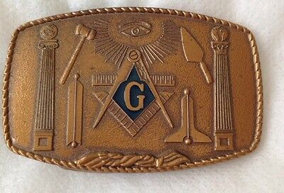 Vintage 1981 Masons Brass Belt Buckle by Harry Klitzner Freemason Masonic