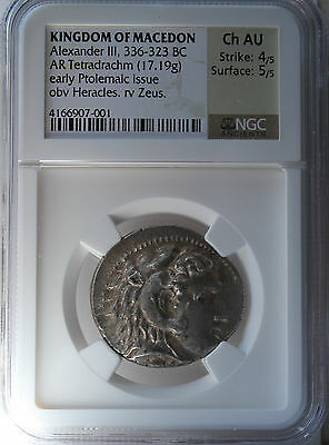 Kingdom of Macedon Alexander III 336-323 BC AR Tetradrachm (17.19 gr) NGC Ch AU