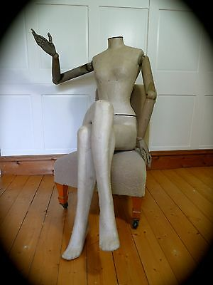Antique style Mannequin with articulated wooden arms & hands - shop display