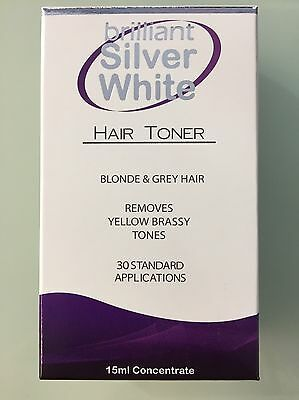 BRILLIANT SILVER WHITE  HAIR TONER 15ml Removes Yellow And Brassy Tones