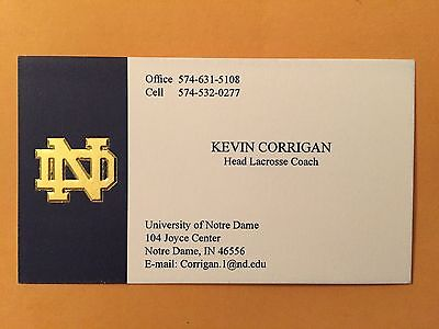 KEVIN CORRIGAN autograph NOTRE DAME FIGHTING IRISH lacrosse business card signed