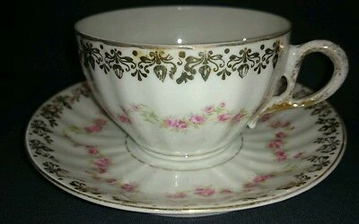DELICATE VTG Teacup Pink Roses Gold Accents Tea Cup & Saucer #49