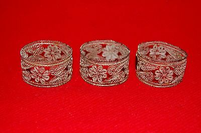Antique Silver Plate Filigree Napkin Rings Set of 3