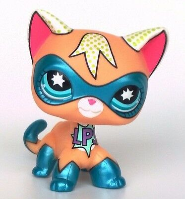 NEW Littlest Pet Shop Comic Con Short Hair Kitty Cat LPS Toys Super Hero