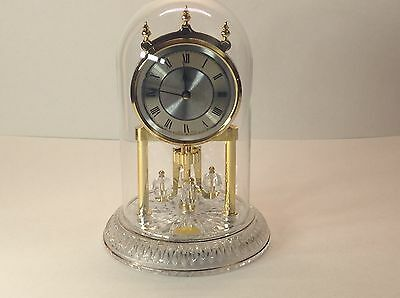 LINDEN Crystal Anniversary Mantel Clock Glass Dome - Germany - Working!