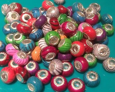 25 x Mixed Colour LAMPWORK RESIN BEADS For Silver European Charm Bracelets