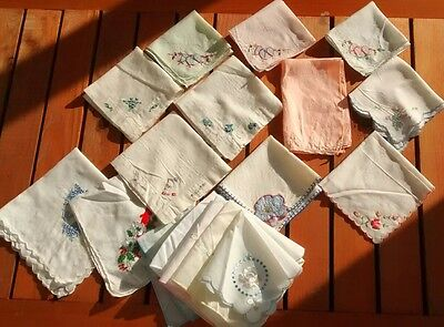 Vintage Floral Embroidered Handkerchief Lot Womens Hankies