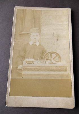 CDV of Boy with mechanical or electrical invention or toy?