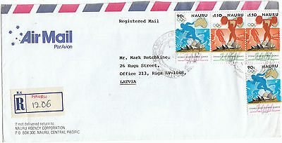 Nauru 2003 Registered Airmail to Latvia rare destination OLYMPIC STAMPS