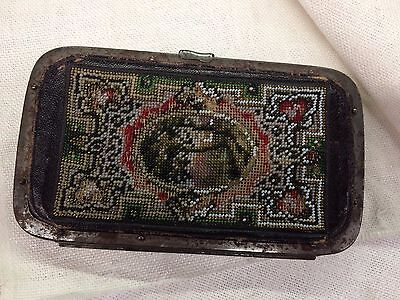 Antique Beaded Leather Purse, Case Very Very old, metal frame