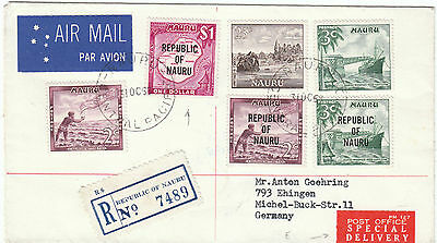Nauru 1968 Registered Special Delivery to Germany Airmail