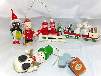 Lot Of 6 Vintage Wooden Christmas Ornaments Collectibles
