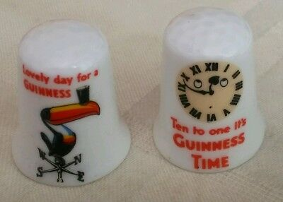 Two Collectible Fine Bone China Thimbles Advertising Guinness.