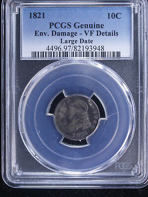 1821 10C Large Date Capped Bust Dime PCGS VF Details