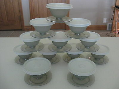 TUPPERWARE 12 vintage dessert dishes/glasses/cups - smoke gray with sheer lids