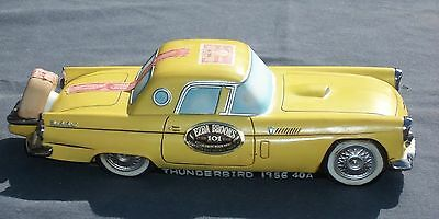 Vtg Whiskey DECANTER 1956 Ford THUNDERBIRD CAR. Yellow Ezra Brooks. Empty