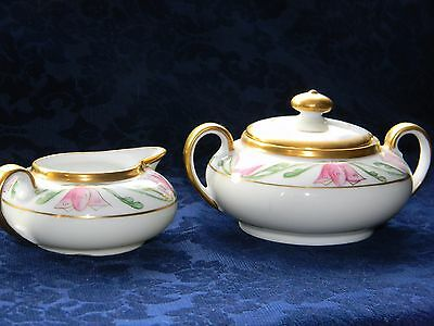 Vintage Z.S.& Co Bavarian fine china Hand Painted Creamer and Sugar Bowl w/ lid