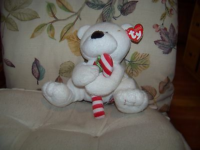 "Ty Pluffies Candy Cane Peppermint Candy Teddy Bear 7"" Soft Plush 2005 TyLux"