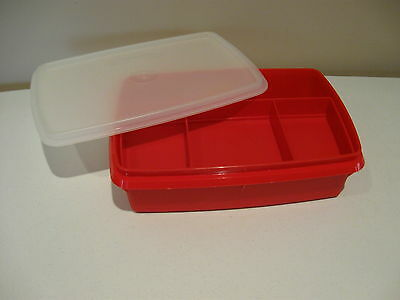 TUPPERWARE vintage red sectioned craft hobby organizer box 3 pc stow-n-go #767