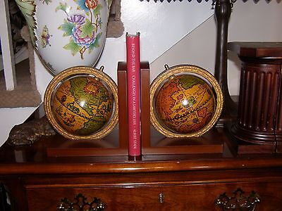 Wood and Paper Mache Bookends (Pair) - Old World Style Globes (Italy)