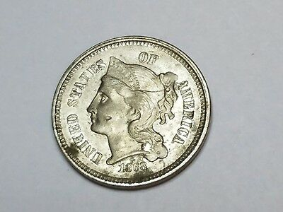 1868 3 cent nickel uncirculated beauty
