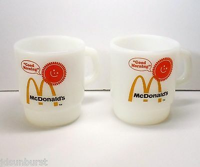 McDonalds Coffee Mug Cup 2 GOOD MORNING Anchor Hocking Fire King