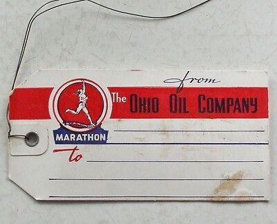 Original Marathon Ohio Oil Company Oak Tag Shipping Tag With Wire Unused