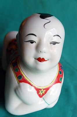 Vintage Chinese Famille Rose Porcelain RECLINING BUDDHA  With STAND.   China