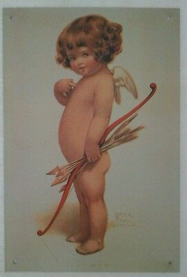 Reproduction Valentine Cupid Girl with Bow & Arrow Tin Sign