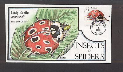 Insects & Spiders FDC, HP Collins, Lady Beetle, 3351