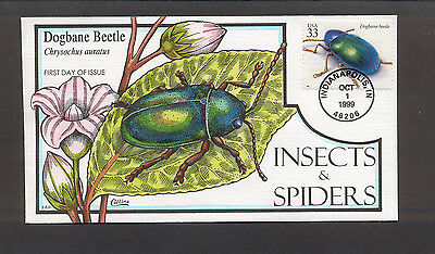 Insects & Spiders FDC, HP Collins, Dogbane Beetle, 3351