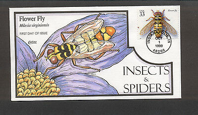 Insects & Spiders FDC, HP Collins, Flower Fly, 3351