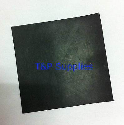 Solid Neoprene rubber sheet 130mm x 130mm x 1.5mm thick.