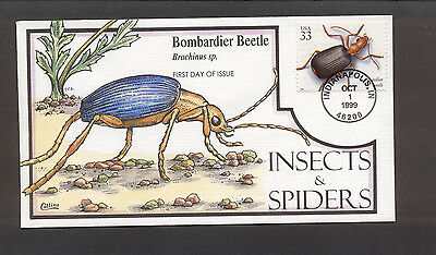 Insects & Spiders FDC, HP Collins, Bombardier Beetle, 3351