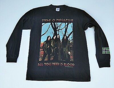 1996 Type O Negative All You Need Is Blood Authentic Long Sleeve Shirt, Size: L