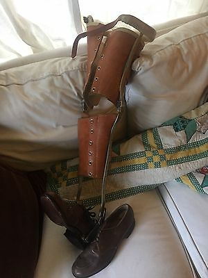 Fine antique leather steel leg brace polio