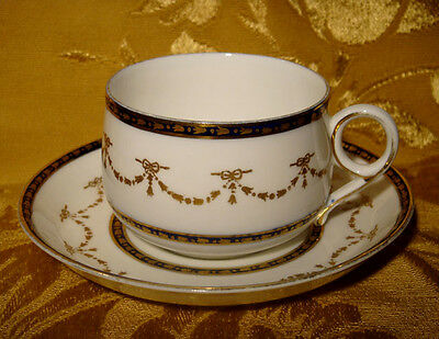 Wedgwood Tea Cup & Saucer Blue And Gold Pattern #8622