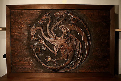 Game Of Thrones Targaryen Dragon Family Coat Of Arms A Wooden Wall Relief