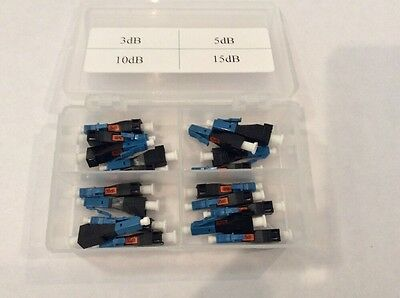 FIBER OPTIC LC/UPC ATTENUATOR KIT , 20 TOTAL / 3,5,10,15dB / OTDR TECH TOOL