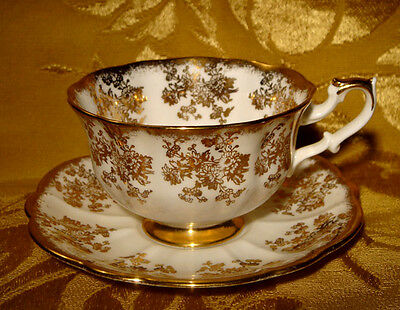 Royal Albert Floral White And Gold Tea Cup & Saucer