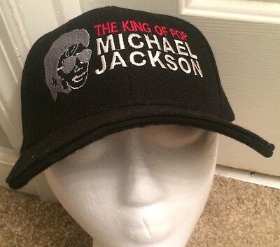 Michael Jackson The King Of Pop Black Hat One Sit Fits All Adjustable Velcro
