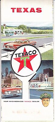 Vintage 1964 Texaco Oil Company Touring Map of Texas - EXCELLENT CONDITION!!!