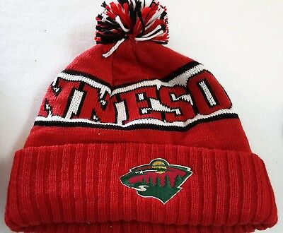 a0e6f980e MINNESOTA WILD NHL WORDMARK Cuffed Knit Beanie Hat Ski Cap W/Pom Your  Choose NWT