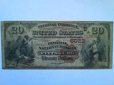 RARE Federal National Bank of Pittsburg(h) PA - two known - 1882 Brown Back $20