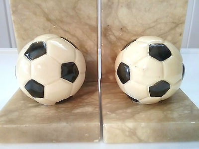 NICE VINTAGE MARBLE SOCCER BOOKENDS GENUINE ALABASTER HAND CARVED MADE IN iTALY